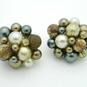 Japan Gold Gray Acrylic Bead Beaded Clip-On